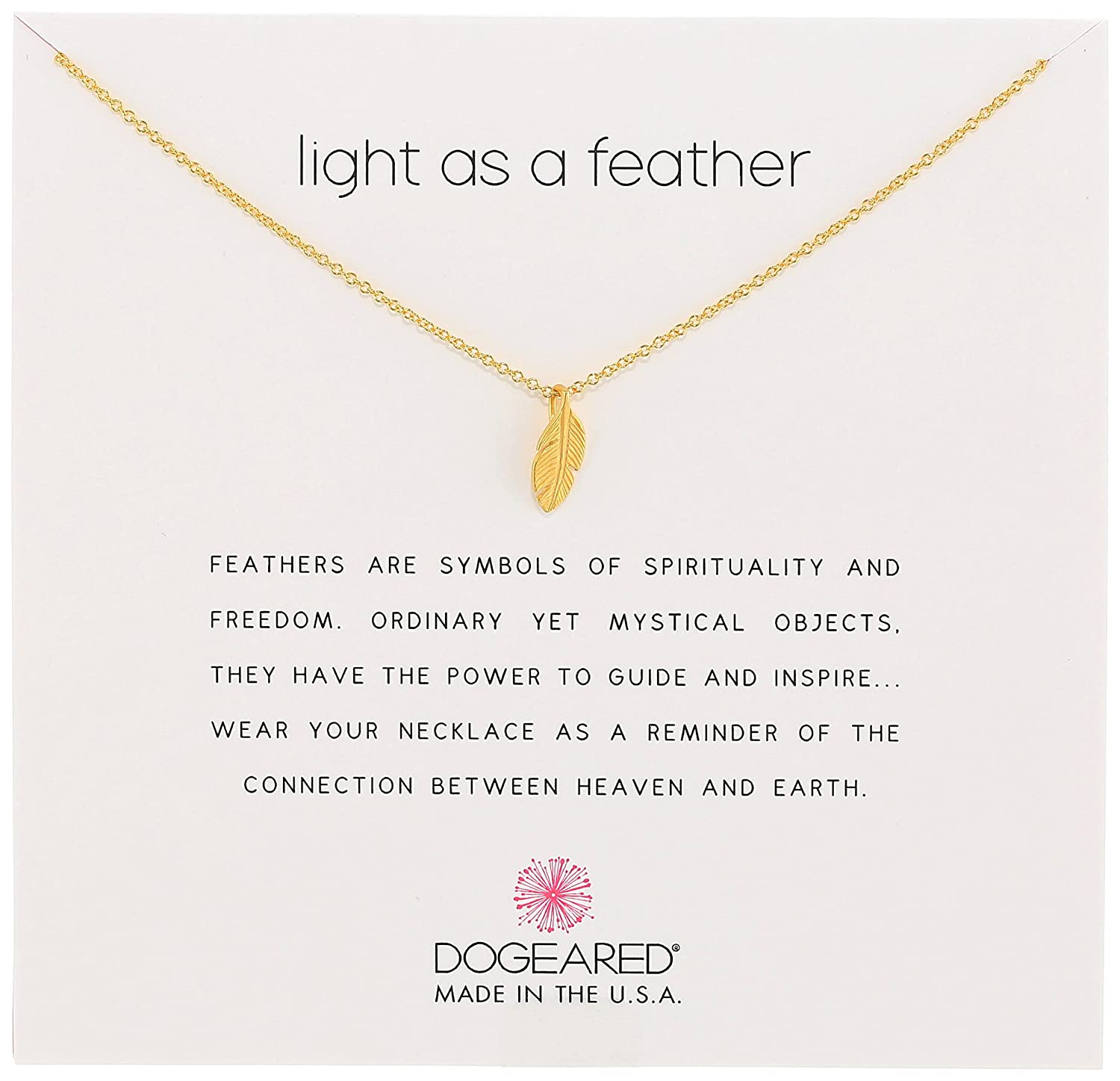 Dogeared Reminders Light As A Feather Necklace 16+2 Extender MS1438