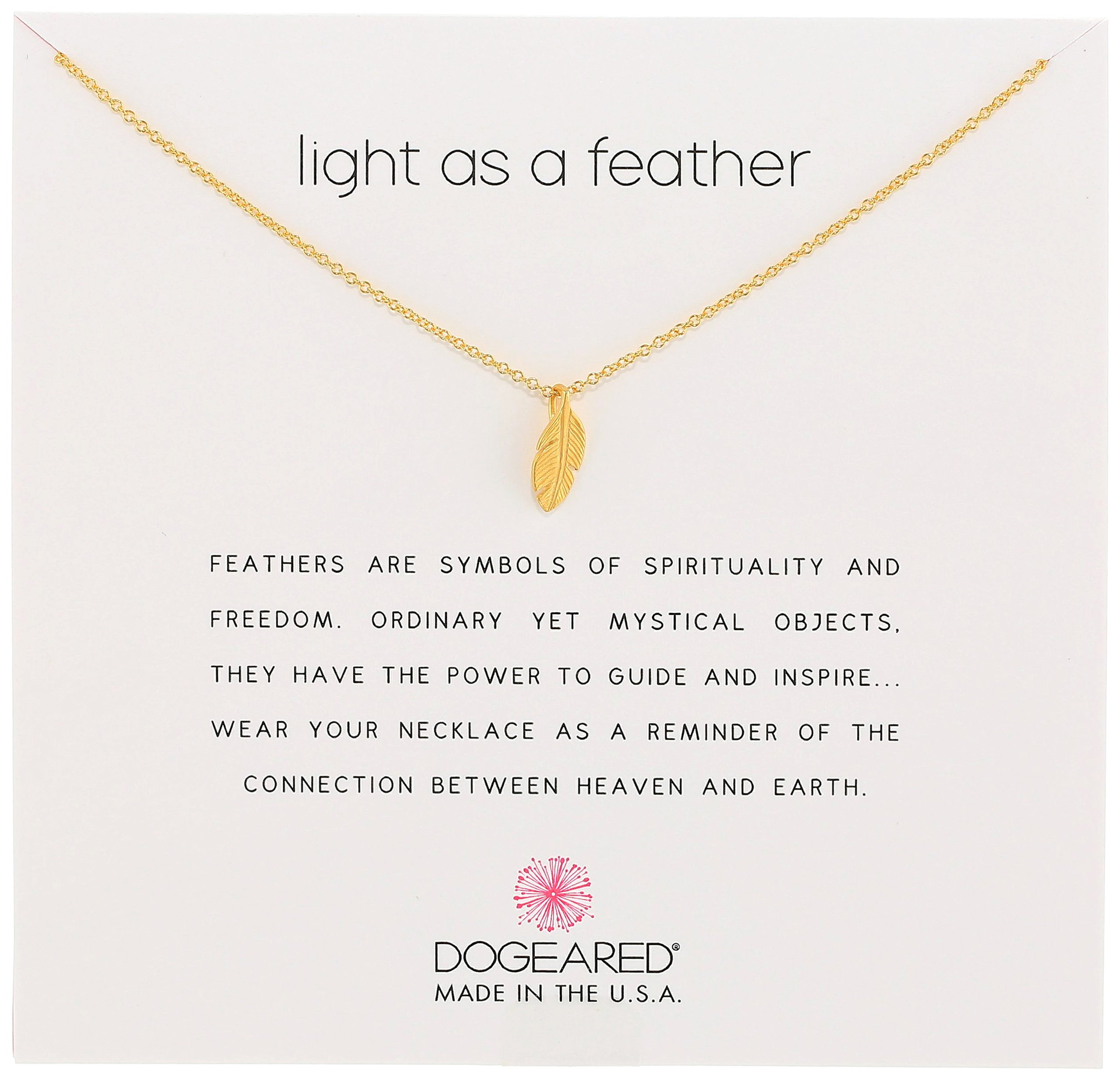 Dogeared Reminders- Light as a Feather Gold Dipped Sterling Silver Feather Charm Necklace, 16''+2'' Extender