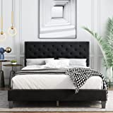 Full Bed Frame, Upholstered Platform Bed Frame with Adjustable Headboard, Button Tufted Mattress Foundation with Sturdy Wood