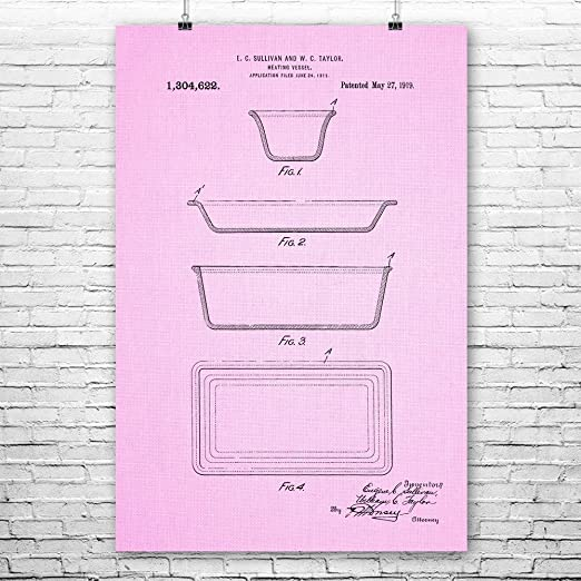 Amazon.com: Patent Earth Pyrex Glass Dishes Poster Print, Vintage Glassware, Culinary Gift, Chef Gifts, Cooking Equipment, Cookware Blueprint Pink Cloth (8