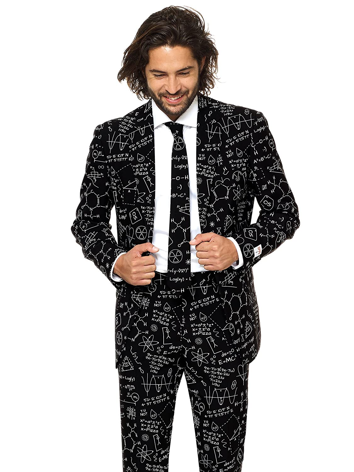OppoSuits Classy Printed Men's Suit - Comes Pants, Jacket Tie – Go-to Outfit Year's Eve