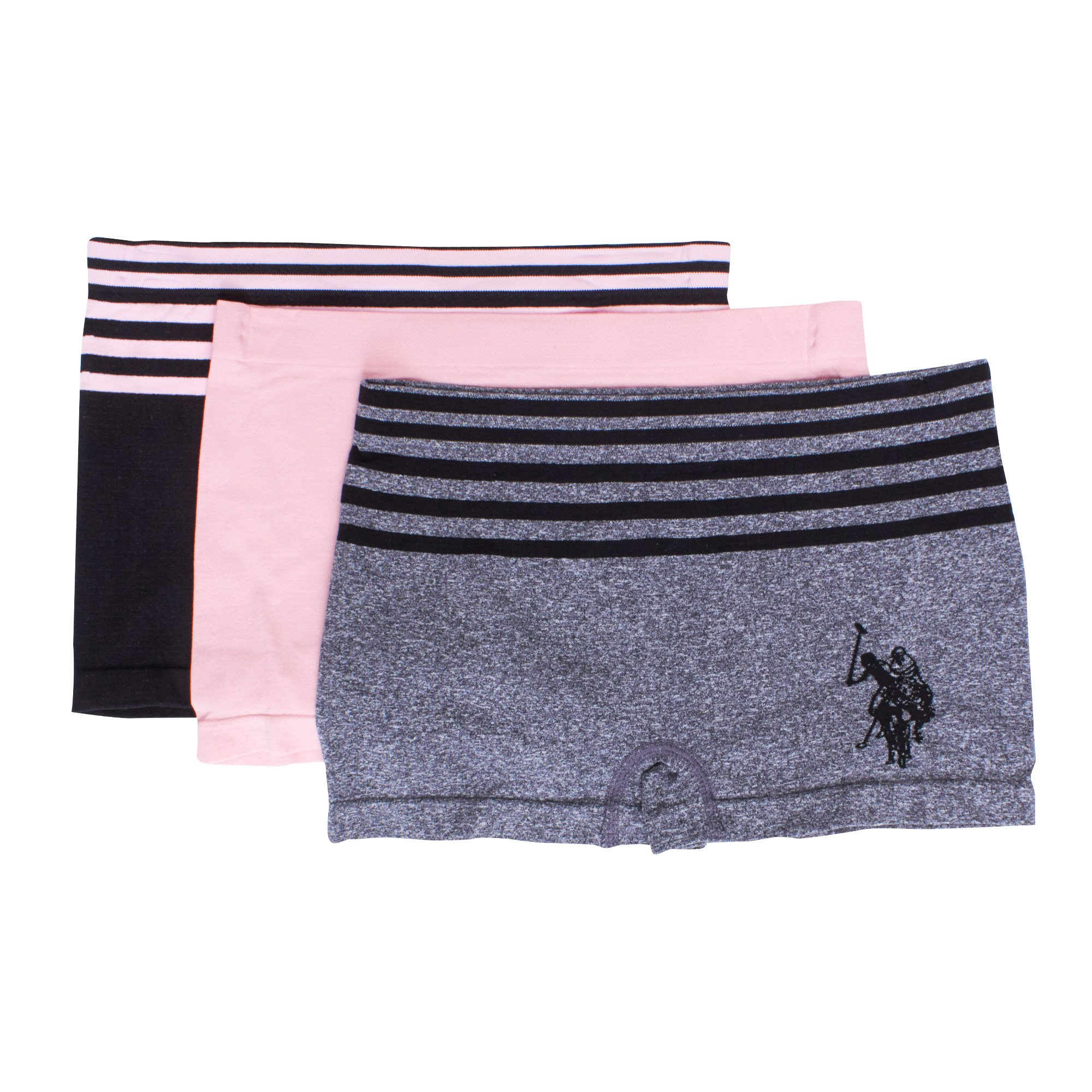 U.S. Polo Assn.. Womens 3 Pack Seamless Boyleg Hiphugger Elastic Waist Panties Set Heather Grey/Powder Pink/Black Large