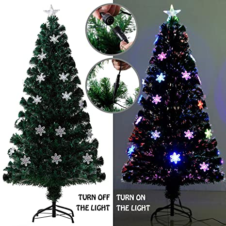 EFORINK 6ft Fiber Optic Christmas Tree Pre-lit PVC Artificial Xmas Tree with  Colorful Fiber - Amazon.com: EFORINK 6ft Fiber Optic Christmas Tree Pre-lit PVC