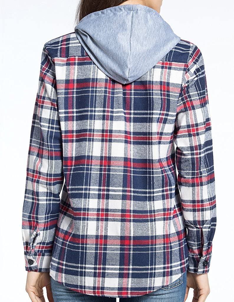 BomDeals Womens Classic Plaid Cotton Hoodie Button-up Flannel Shirts