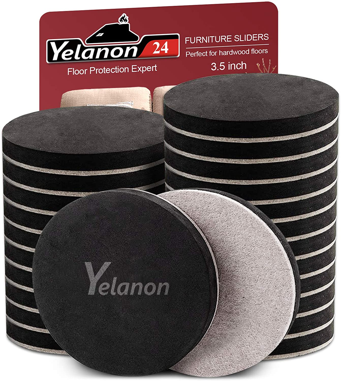 "Yelanon Furniture Sliders 24pcs - 3 1/2"" Felt Furniture Sliders for Hardwood Floors - Reusable Furniture Moving Pads Heavy Duty Felt Sliders kit - Protect All Hard Surfaces, Move Heavy Furniture Easy"