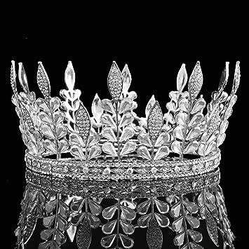 Amazon fumud height 34 big crown full tiara wedding crown fumud height 34 big crown full tiara wedding crown cride silver leaf rhinestone tiaras junglespirit Images