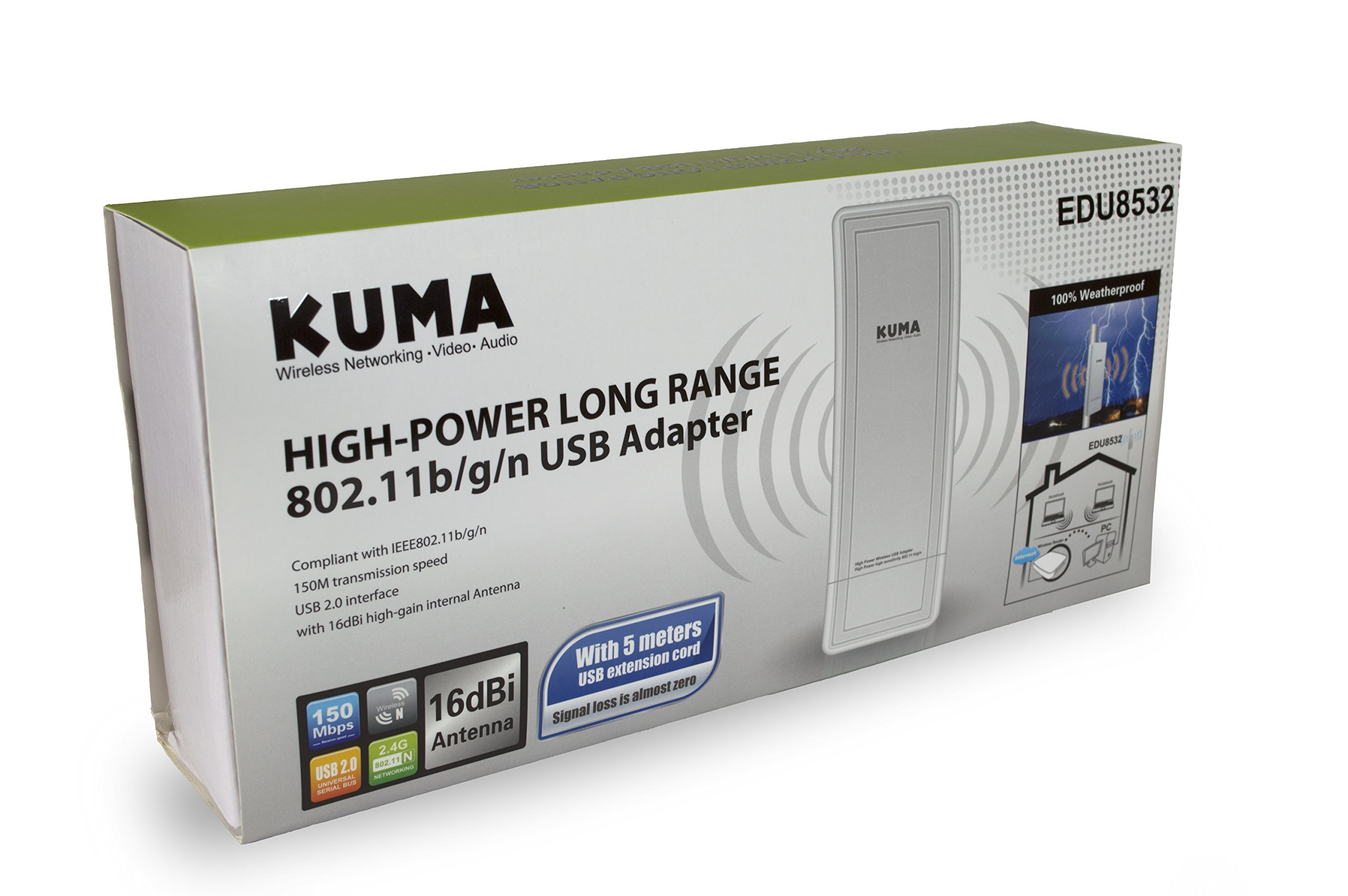 KUMA High Power Long Range Wireless Outdoor RV/Boat USB WiFi Signal Booster/Extender Antenna for Microsoft Windows PCs