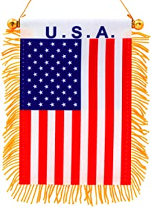 """Anley 4"""" X 6"""" U.S.A Fringy Window Hanging Flag - Mini Flag Banner & Rearview Mirror Décor - Fringed, Double Sided, America Rearview Flag with Suction Cup"""