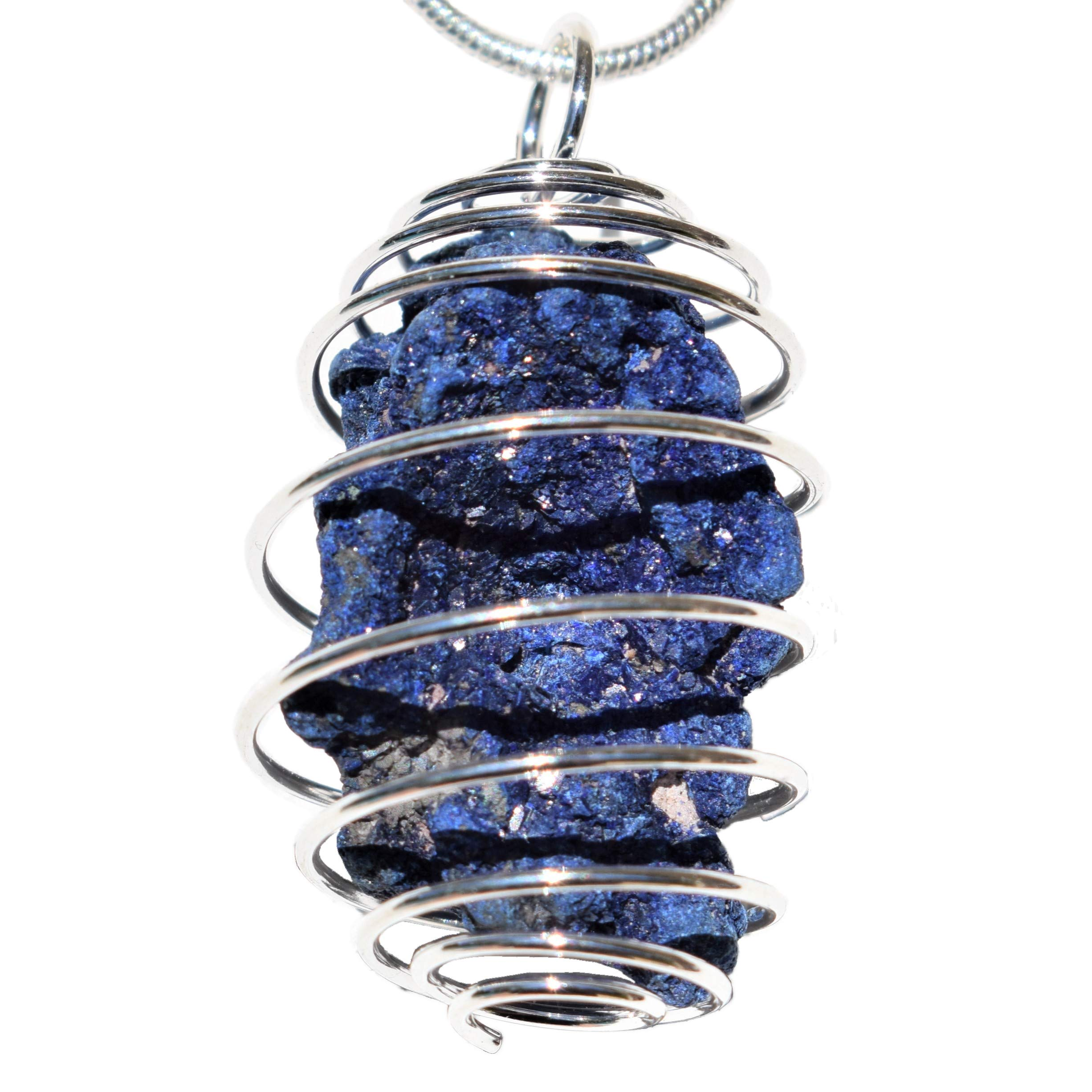 "Zenergy Gems Charged Natural Moroccan Azurite Specimen Crystal Pendant + 20"" Silver Plated Chain + Selenite Charging Heart [Included]"