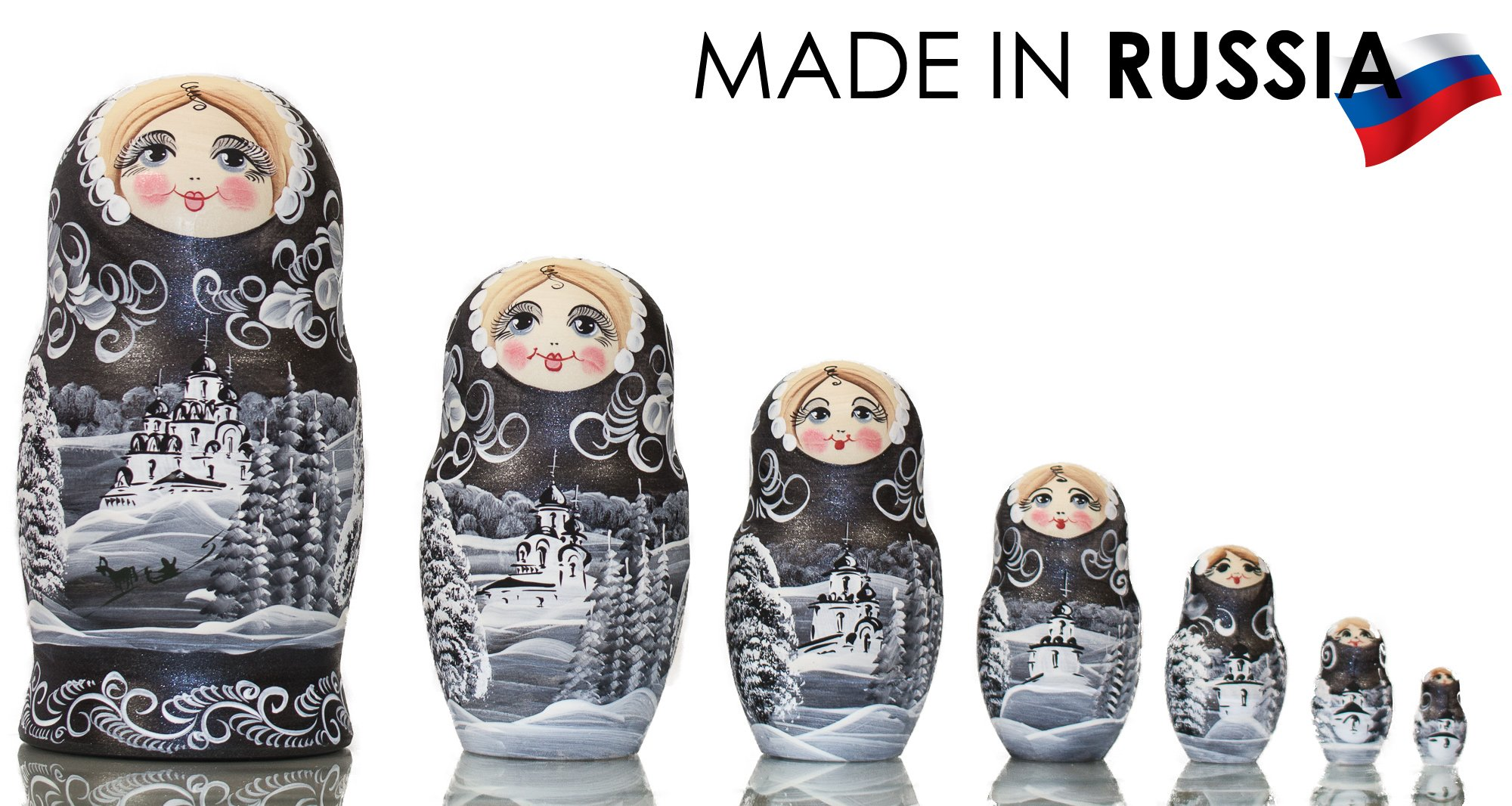 Russian Nesting Doll - ''Winter`s Tale'' - Hand Painted in Russia - MOSCOW KREMLIN GIFT BOX - Wooden Decoration Gift Doll - Traditional Matryoshka Babushka (8`` (7 dolls in 1), Silver Night) by craftsfromrussia (Image #2)