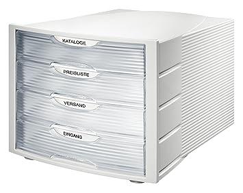 Han Monitor - Cajonera de oficina (tamaño C4, 4 cajones), color gris claro y translúcido