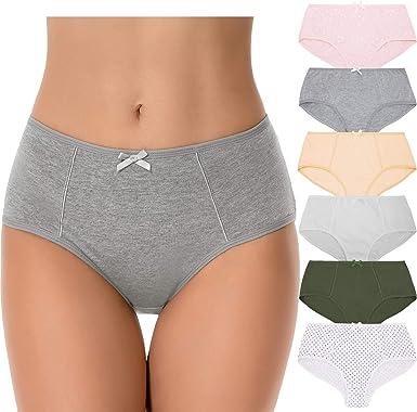 Curve Muse Braguitas de Talle Alto para Mujer, 100% algodón, Cintura Alta, Braguitas - Paquete de 6-PACKA-38/40-V3: Amazon.es: Ropa y accesorios