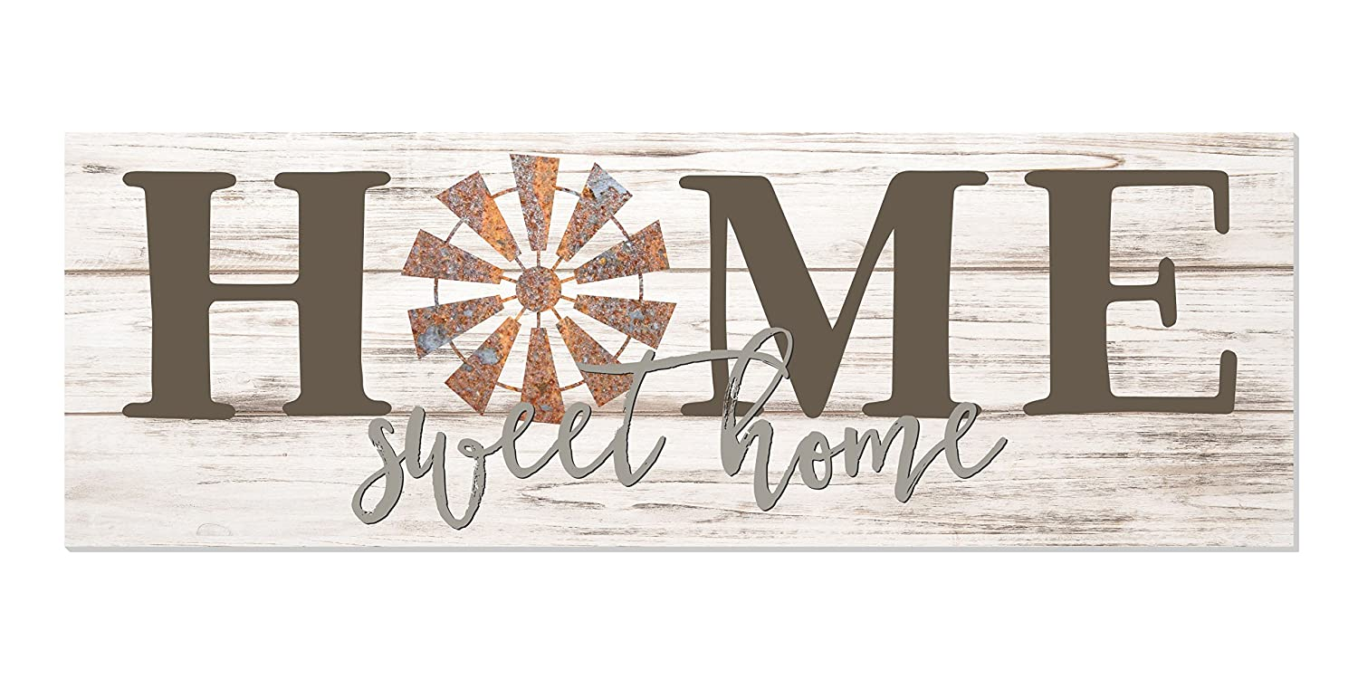 Home Sweet Home Windmill White Rustic Wood Wall Sign 6x18