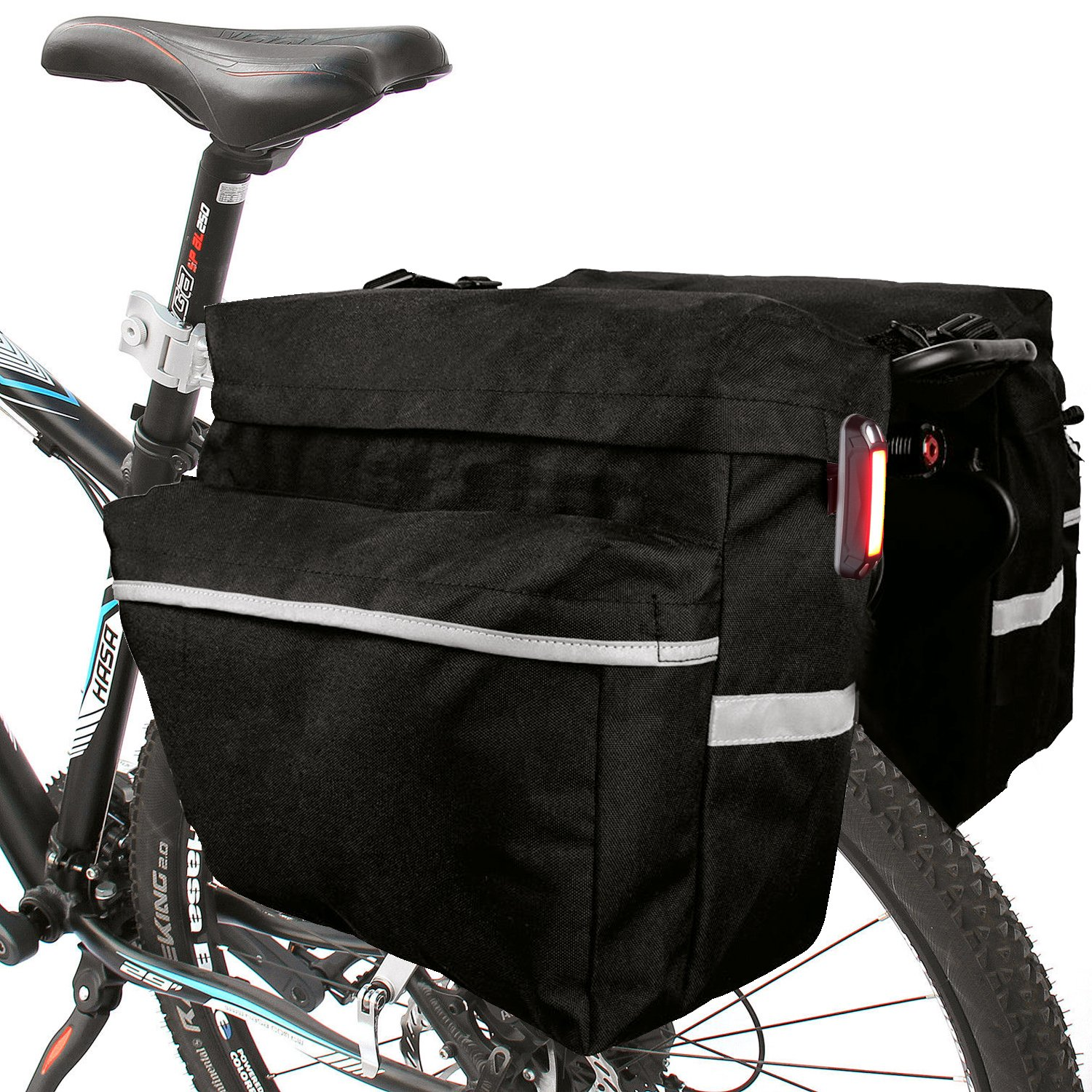 TRADERPLUS Bike Rear Seat Trunk Bag Bicycle Panniers with Adjustable Straps and 3M Reflective Trim for Mountain Cycling, Black