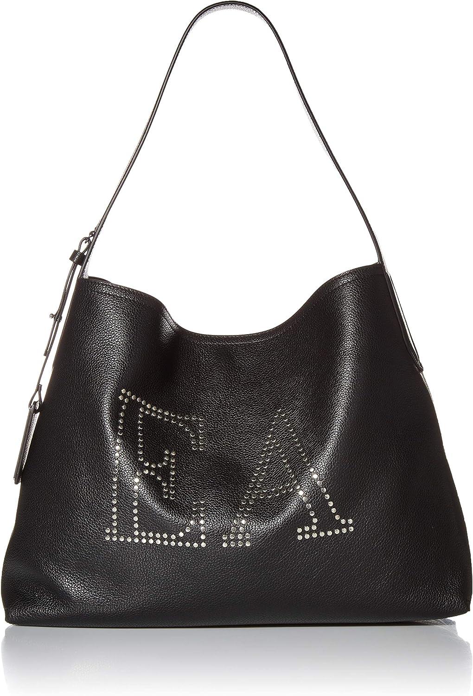 Emporio Armani Designer Leather Hobo Bag Embellished with EA Logo