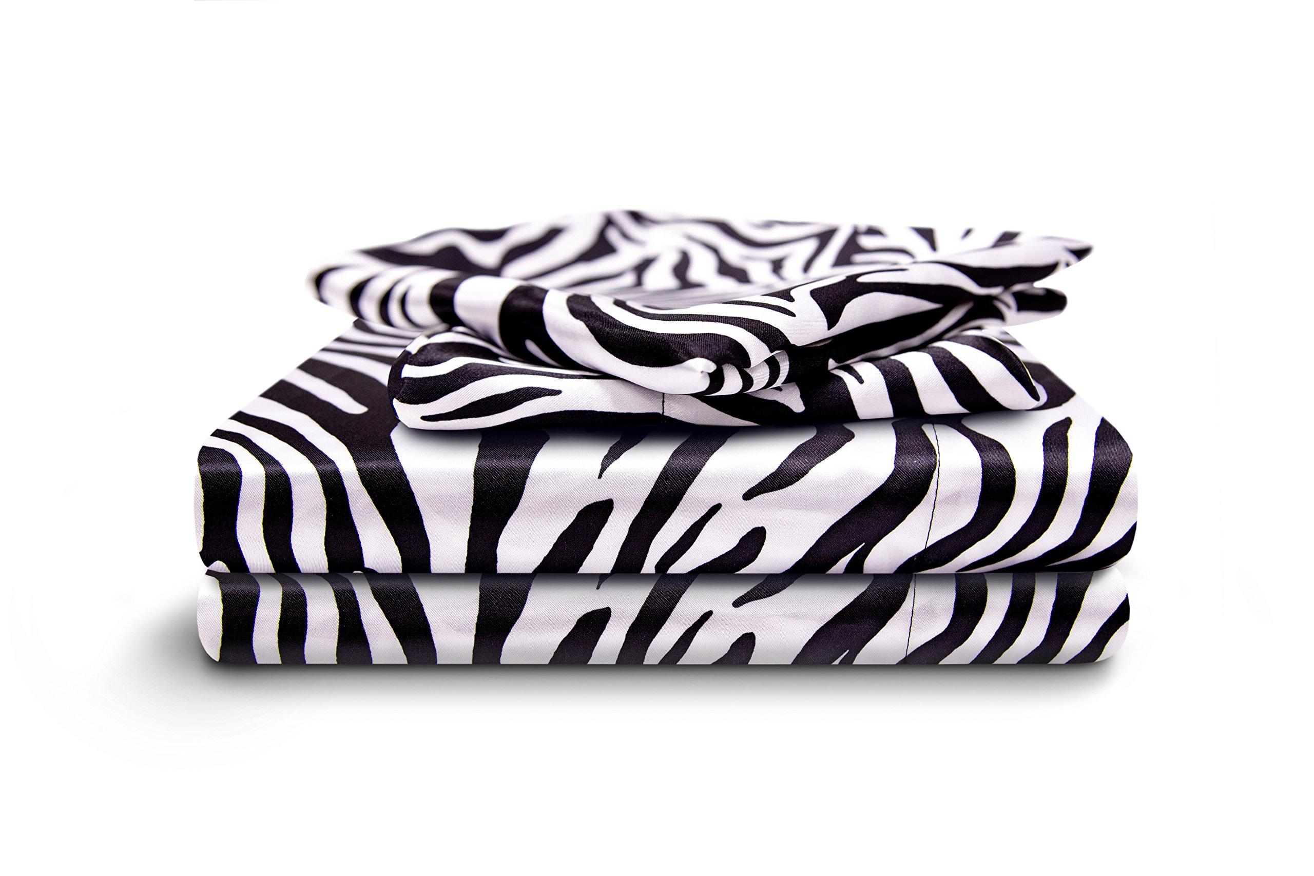 HONEYMOON HOME FASHIONS Queen Sheet Set Luxury Silkily Like Satin Bed Sheets, Zebra by HONEYMOON HOME FASHIONS (Image #1)