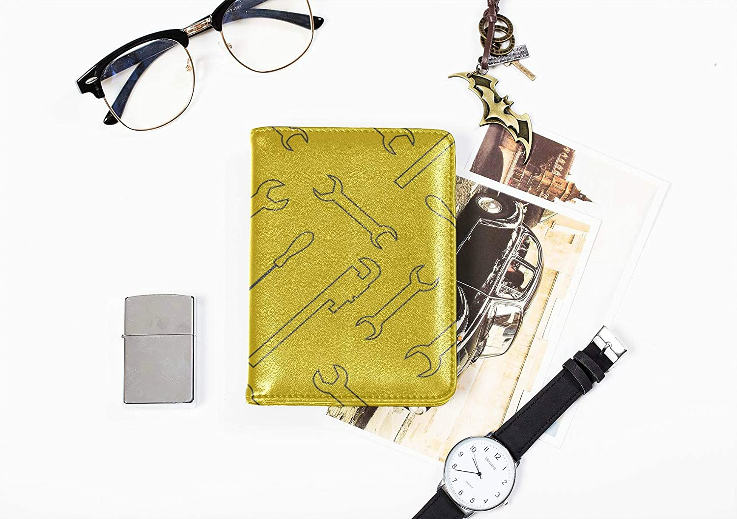Personalize Passport Holder Case Fashion Cartoon Cute Tool Wrench Men Passport Case Multi Purpose Print Cover For Passport Travel Wallets For Unisex 5.51x4.37 Inch