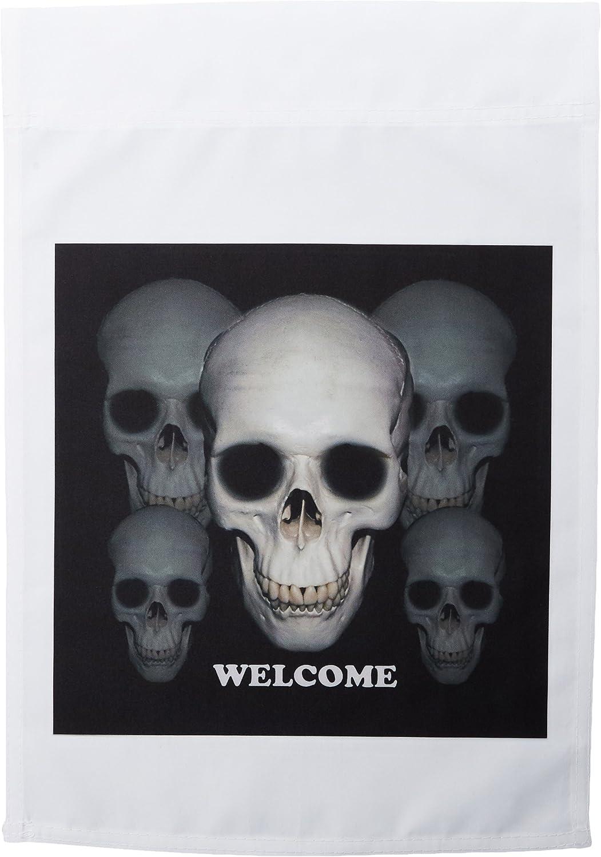 3dRose fl_156732_1 Welcome Skull Friends Garden Flag, 12 by 18-Inch