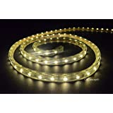 CBConcept UL Listed, 65 Feet, 7200 Lumen, 3000K Warm White, Dimmable, 110-120V AC Flexible Flat LED Strip Rope Light, 1200 Units 3528 SMD LEDs, Indoor/Outdoor Use, Accessories Included, [Ready to use]