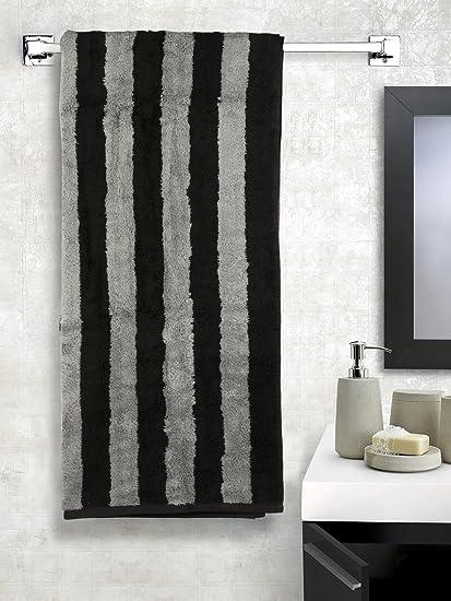 Turkish Bath Cotton 550 GSM Luxury Bath Towel (Black & Grey)
