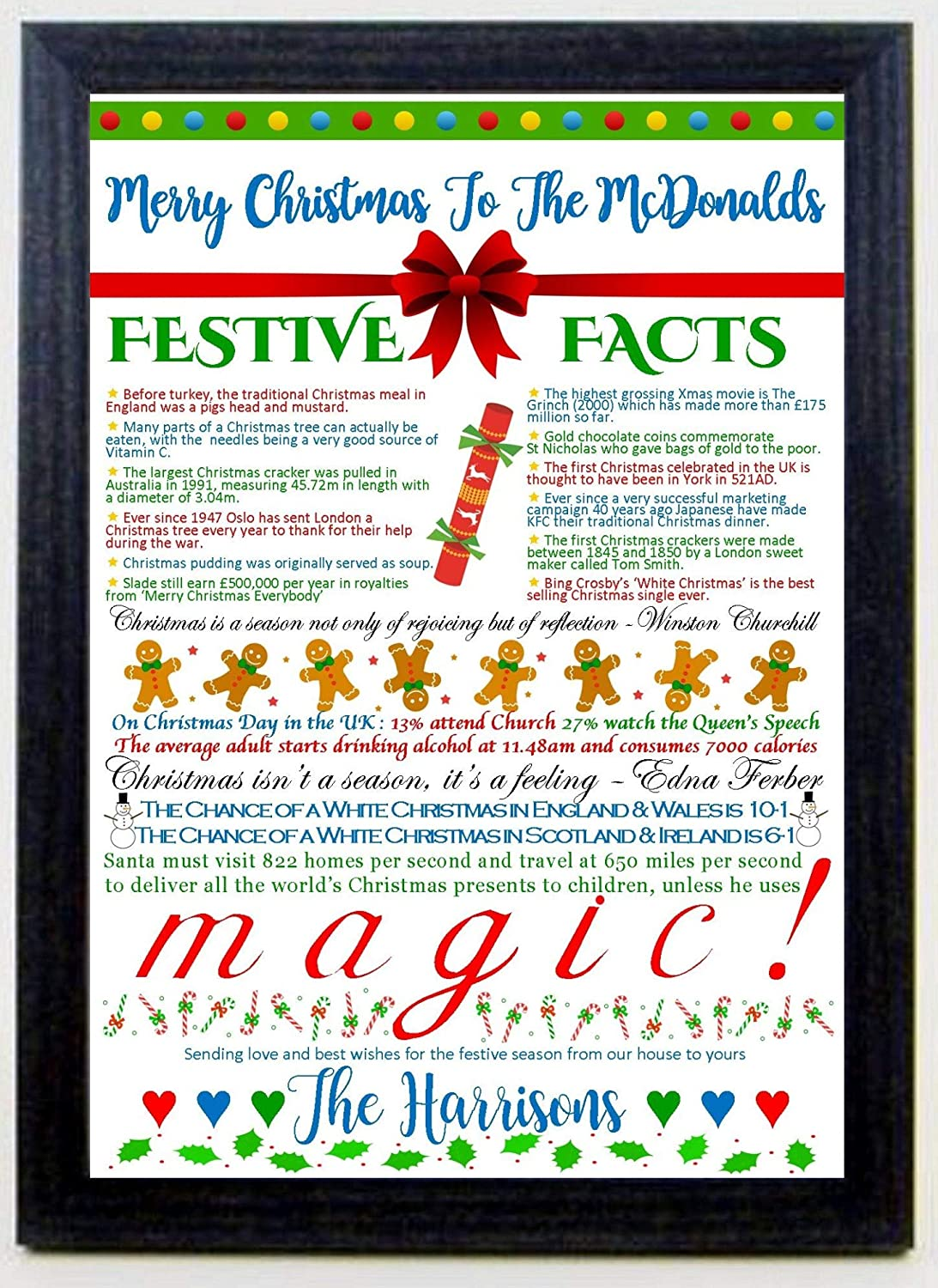 Christmas Fun Facts.Personalised Christmas Festive Fun Facts Print To Friends