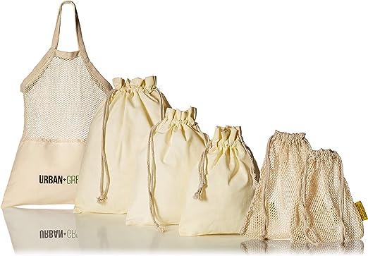 Juego de 6 bolsas reutilizables Urban + Green Bags (1 bolsa de ...