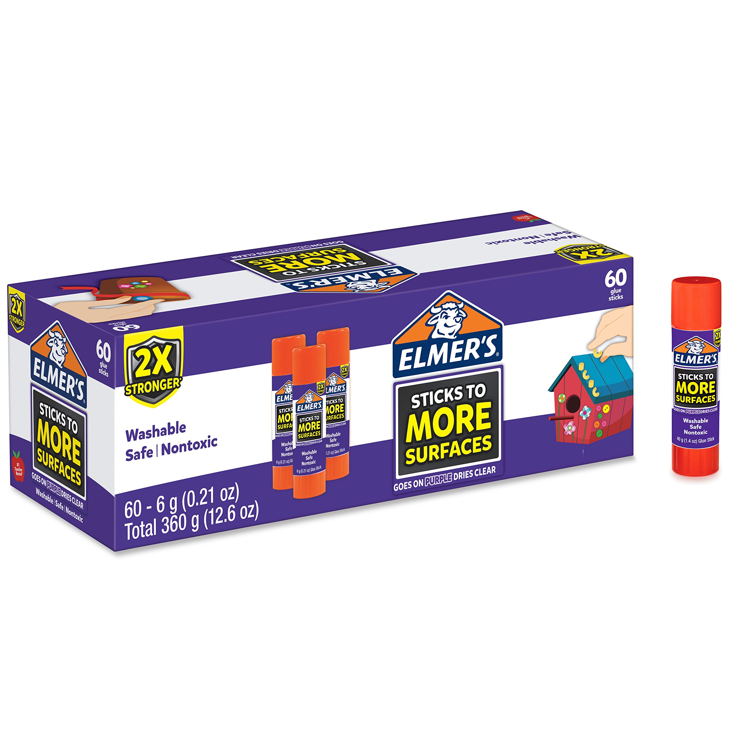 Elmer's Extra Strength School Glue Sticks, Washable, 6 Gram, 60 Count