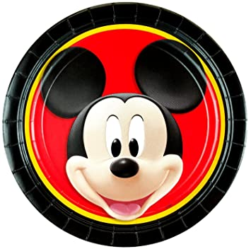 Disney Mickey Mouse Round Lunch Paper Plates (24 Pieces) by Party Supplies  sc 1 st  Amazon.com & Amazon.com: Disney Mickey Mouse Round Lunch Paper Plates (24 Pieces ...