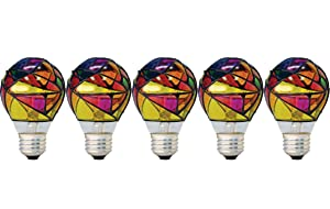 GE Lighting 46645 Party Light 25-Watt Stained Glass A19 Light Bulb, 5-Pack
