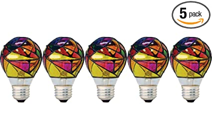 Ge Lighting 46645 Party Light 25 Watt Stained Glass A19 Light Bulb 5 Pack