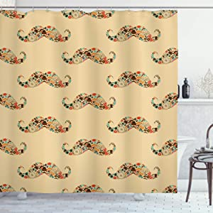 """Ambesonne Vintage Shower Curtain, Oriental Style Hipster Mustache with Pastel Colored Vintage Owl Bicycle Shapes and Pipe, Cloth Fabric Bathroom Decor Set with Hooks, 70"""" Long, Ecru"""