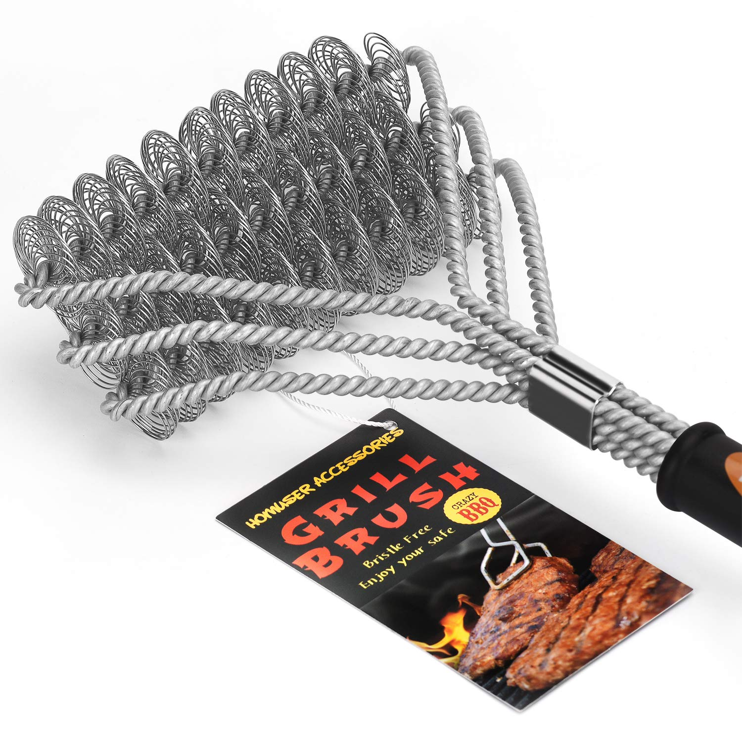 Homuser Grill Brush Bristle Free - Safe BBQ Cleaning Barbecue Brush 18'' Best Stainless Steel Grilling Accessories Cleaner for Weber Gas/Charcoal Porcelain/Ceramic/Iron/Steel Grates