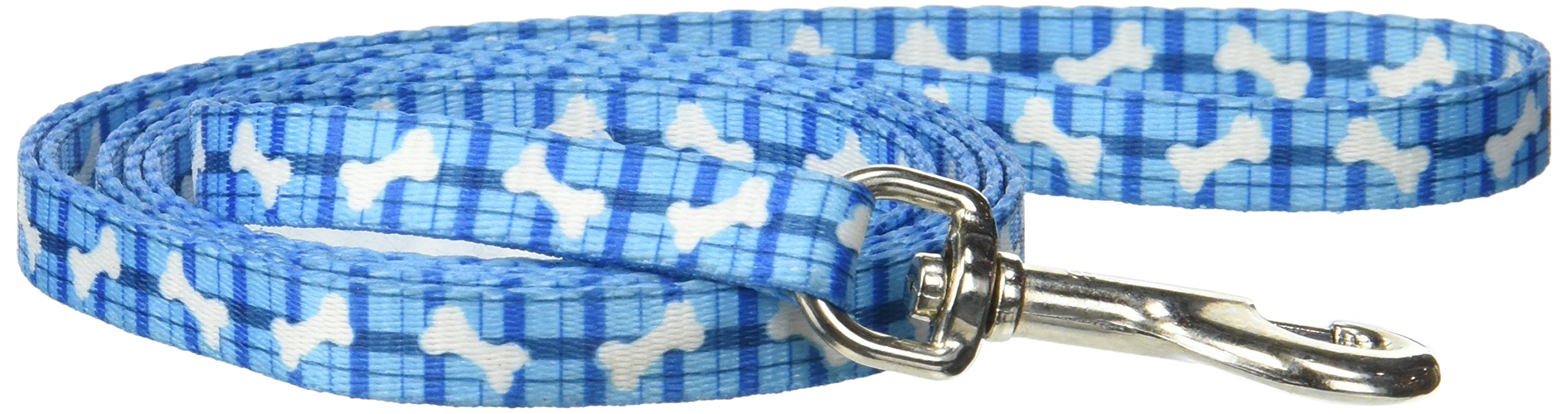 Pet Attire Styles Plaid Bones 4 Foot Dog Leash with a Width of 3/8 in.