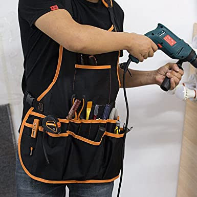Nrpfell Herramienta de delantal 16 herramienta de bolsillo cinturon de herramientas chaleco ajustable para hombres y mujeres delantal de trabajo delantal impermeable y de lona