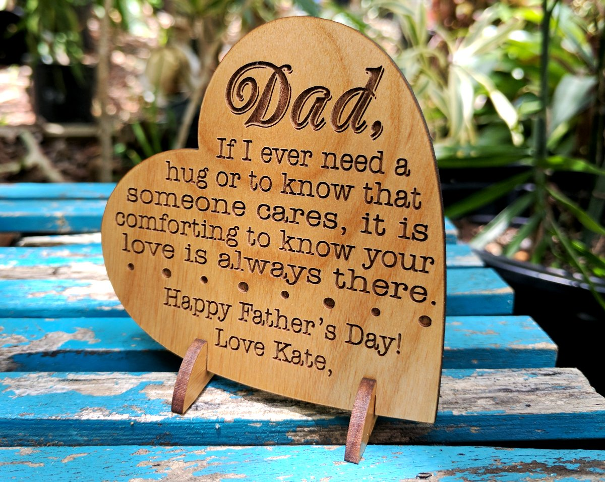 Custom Engraved Alder Wood Greeting Card for Dad Personalized Heart Shaped Fathers Day, Birthday, Chrismas, Thank You Unique Daddy Godfather Grandpa Dad Gift from Kids Wife for Him Comes with Stand by Greeting Card-by-StockingFactory (Image #5)