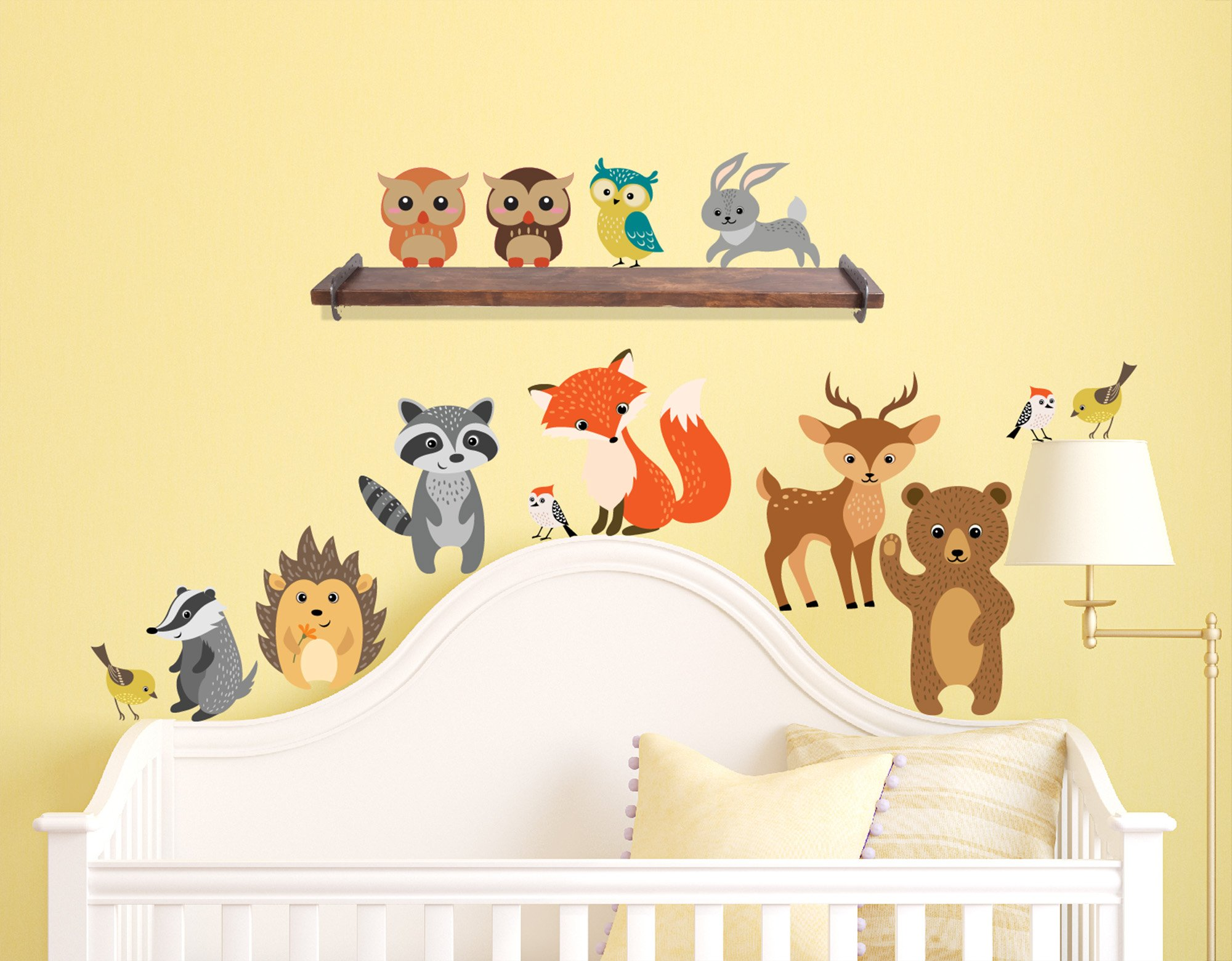Innovative Stencils Forest Animals Wall Decals Peel and Stick Bear, Fox, Owl, Bunny, Racoon Birds Fabric Rusable Stickers Nursery Decor, Perfect Addition to Large Tree Decals, 14 Creature Included by Innovative Stencils