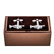MRCUFF Trumpet Jazz Music Pair Cufflinks in a Presentation Gift Box & Polishing Cloth
