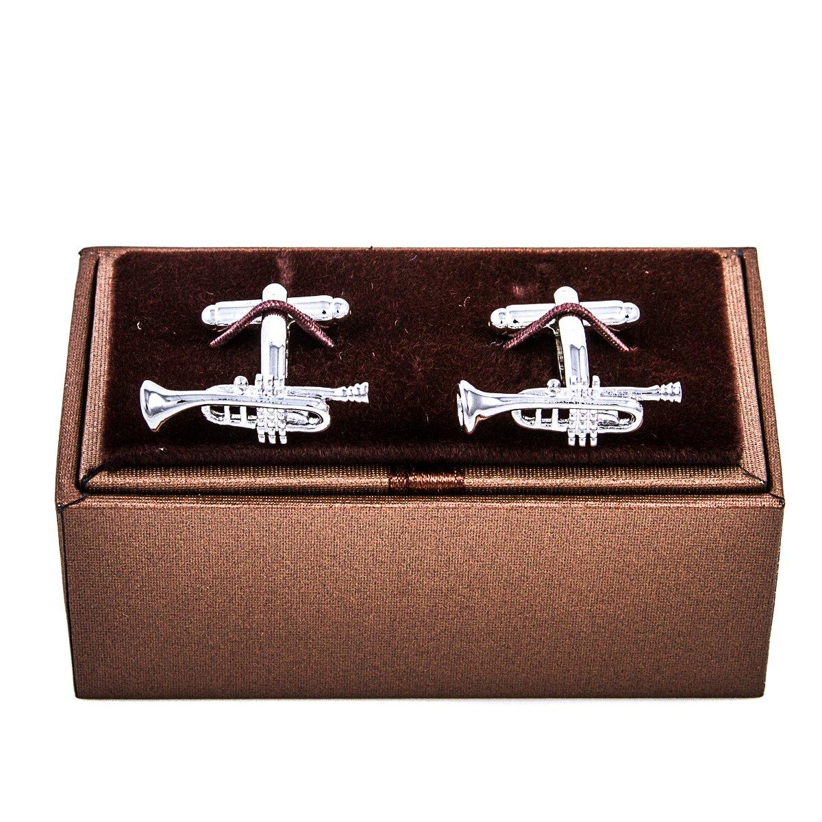 MRCUFF Trumpet Jazz Music Pair Cufflinks in a Presentation Gift Box & Polishing Cloth