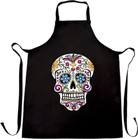 Full Length Black Cotton Apron with Black and White Sugar Skull