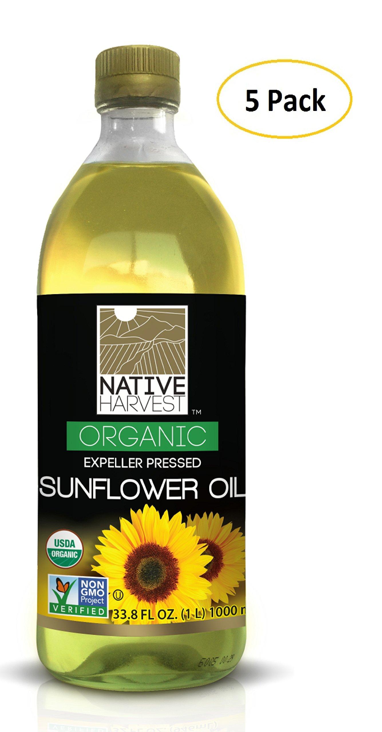 Native Harvest Organic Non-GMO Naturally Expeller Pressed Sunflower Oil, 1 Litre (33.8 FL OZ) 5 Packs