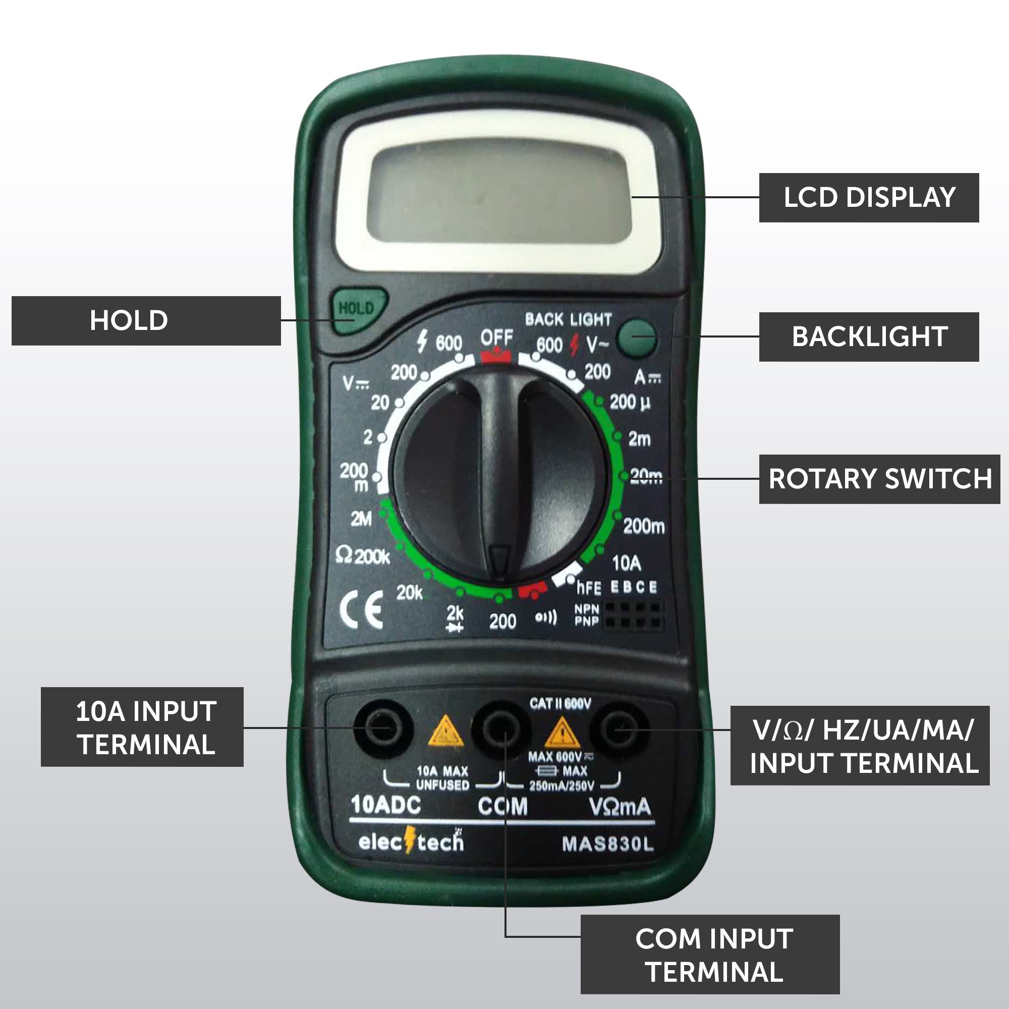ElecTech Digital Multimeter Backlit LCD Data Hold Digital Ranging Digital Multi Tester Electricity Detector AC DC Voltage Circuit Continuity Tester Best for DIY Home Auto Workshop EBOOK included by ElecTech (Image #1)