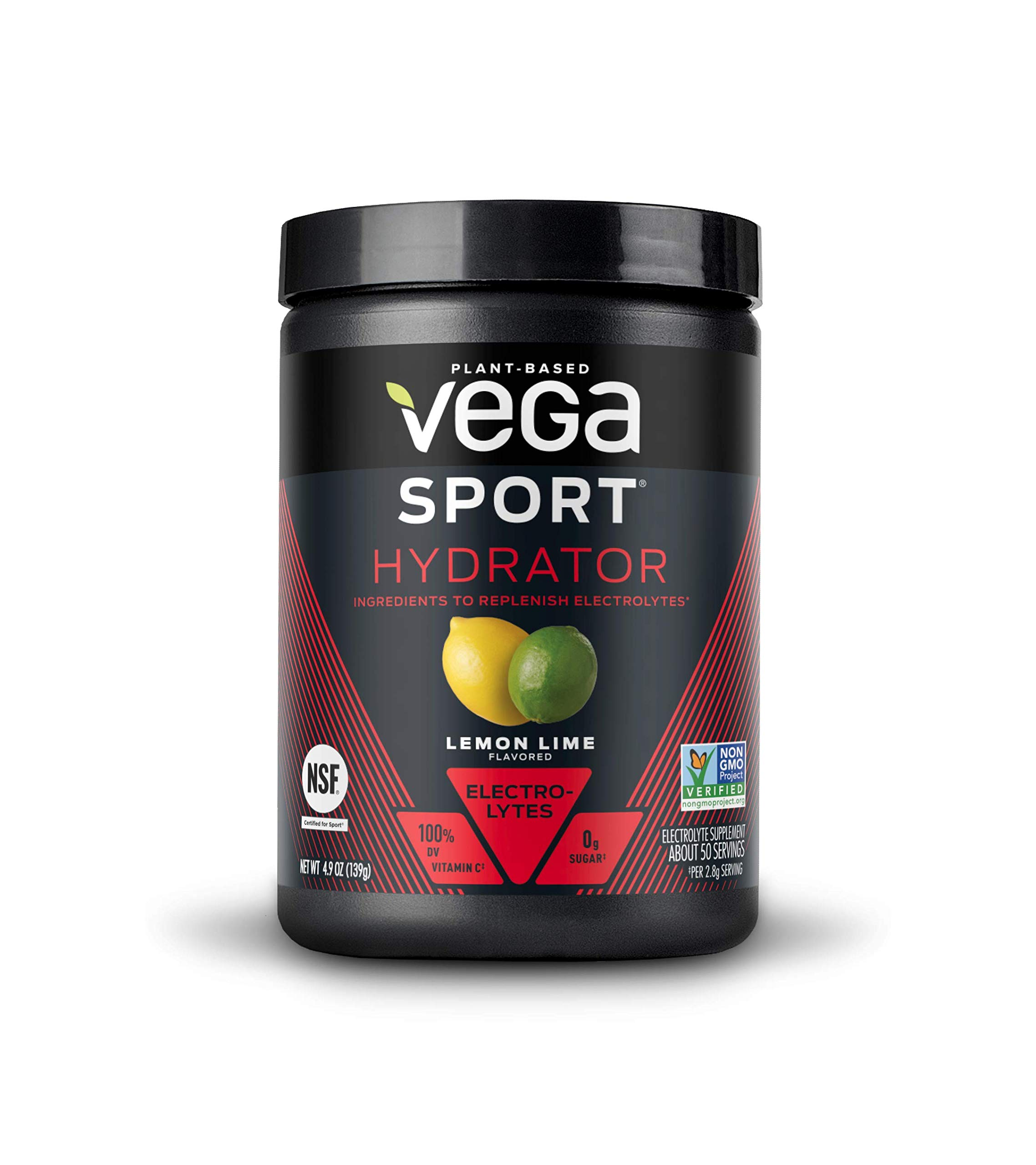 New Vega Sport Hydrator Lemon Lime (50 Servings, 4.9 oz Tub) - Electrolyte Powder, Gluten Free, Non Dairy, Vegan, Sugar Free, Keto Friendly, Non GMO (Packaging May Vary) by VEGA