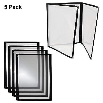 Cubiertas Tres Pliegues A4 para Menús - Pack de 5 Cubiertas Estilo Americano Costura Doble Ribete Negro Protectores de Esquina Acero Inoxidable - para ...