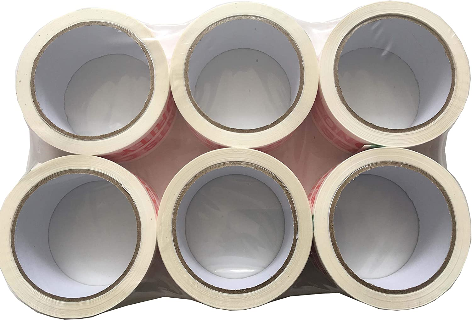 Red Tezraftaar/® 36 Rolls Parcel Packing Tape 48mm X 66M Coloured Strong Packaging Tape for Parcels and Boxes