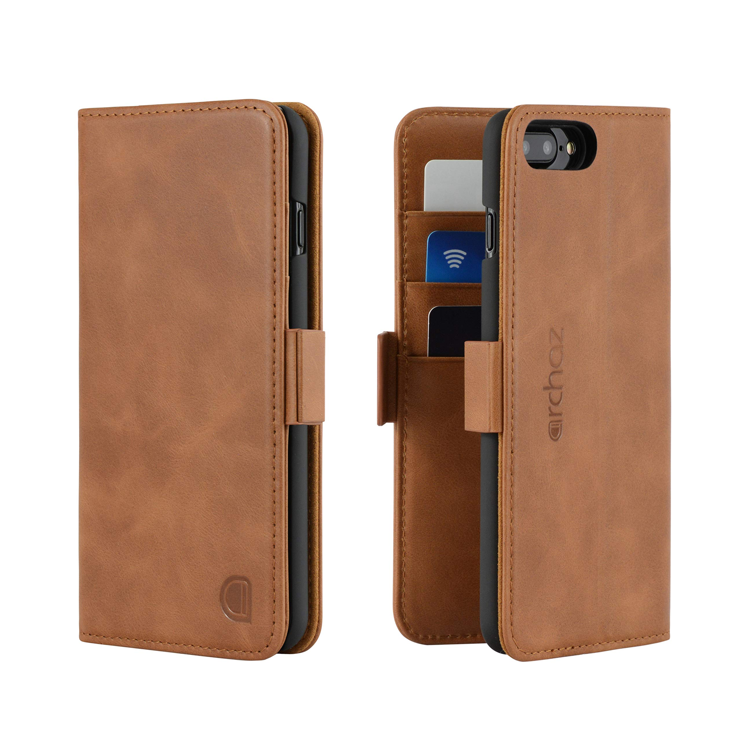 archaz iPhone 8 Plus/iPhone 7 Plus Leather Wallet Case - Premium Italian Leather Case for iPhone 8 Plus/iPhone 7 Plus - Flip Cover with Magnetic Closure - Adjustable Viewing Stand (tan Brown)