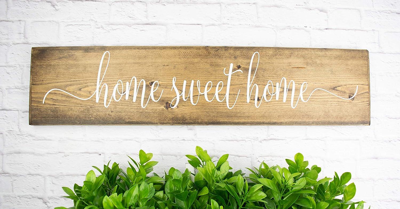 Dark Walnut Home Sweet Home Wood Sign Sayings - Farmhouse Family Wood Rustic Wall Decor - Housewarming Gift