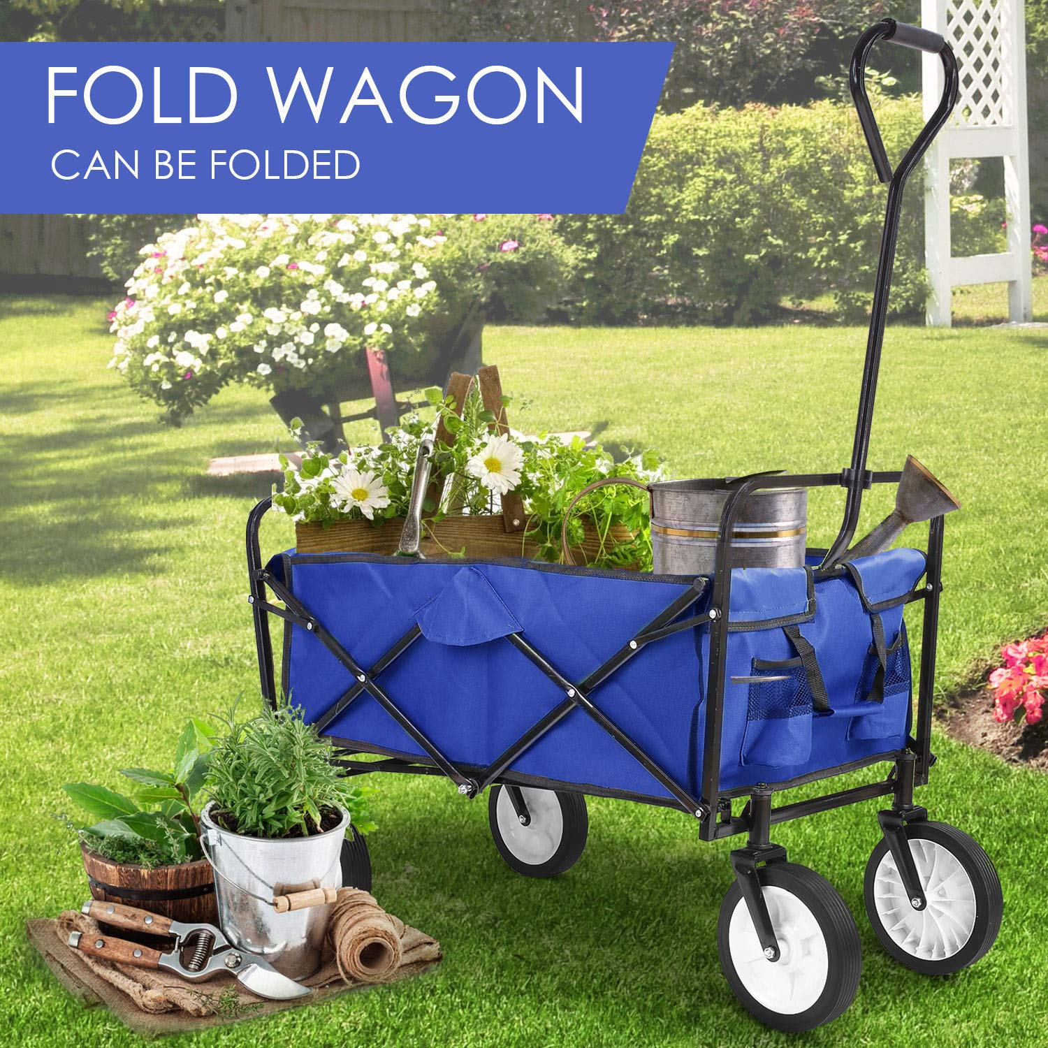 Collapsible Outdoor Utility Wagon, Heavy Duty Folding Garden Portable Hand Cart, with 8'' Rubber Wheels and Drink Holder, Suit for Shopping and Park Picnic, Beach Trip and Camping (Blue) by HEMBOR (Image #6)