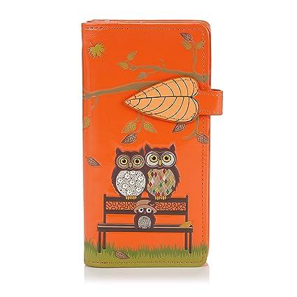 Shagwear - Monederos para mujeres jóvenes: (banco del parque búhos naranja / park bench owls orange)