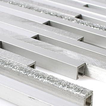 Aluminium Metall Mosaik Fliesen Kintore Glitzer Silber