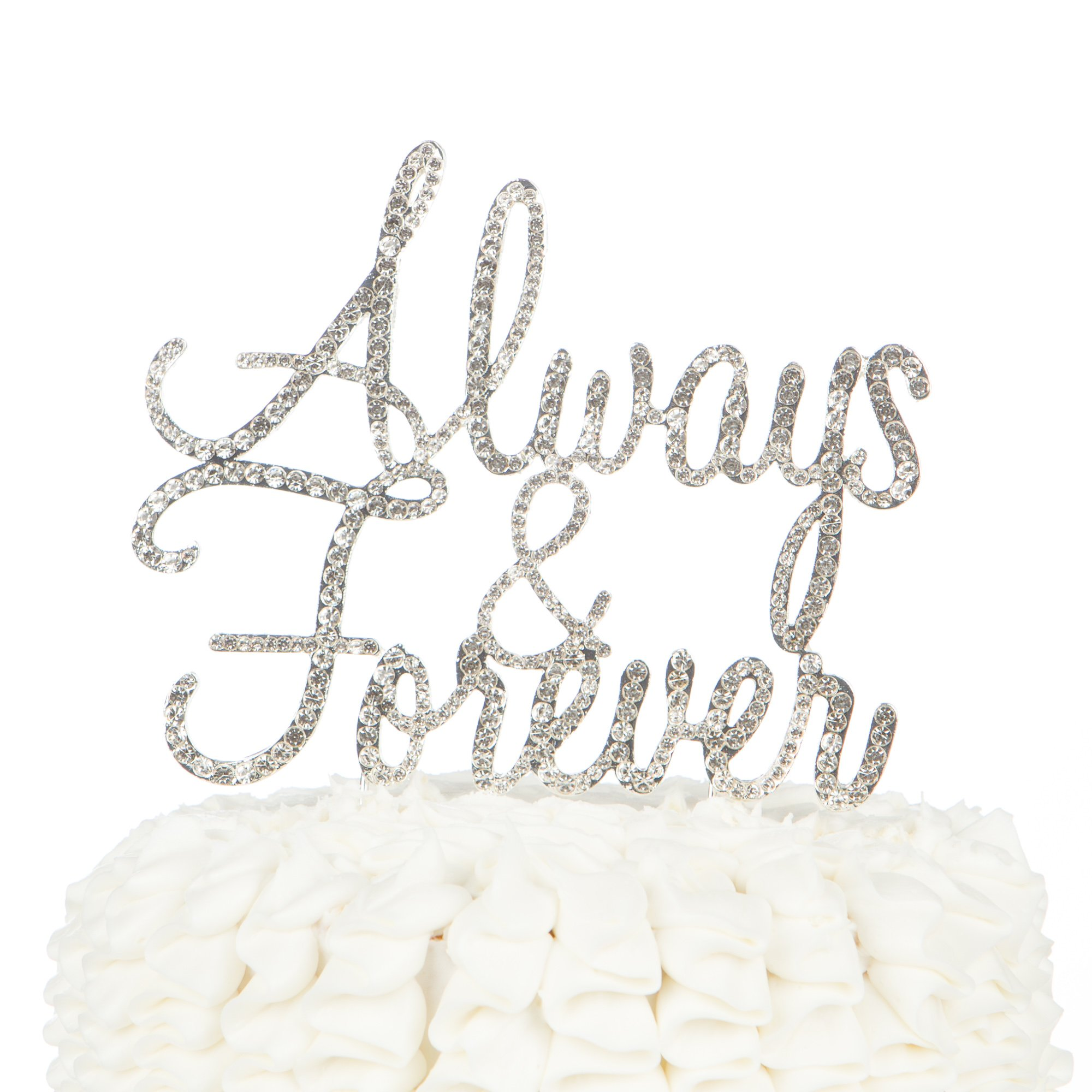 Ella Celebration Always and Forever Wedding Cake Topper, Silver Romantic Rhinestone Decoration (Always & Forever) (Silver) by Ella Celebration (Image #1)